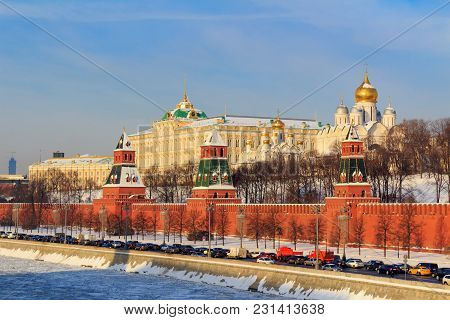 Moscow Kremlin On A Sunny Winter Morning. Moscow In Winter