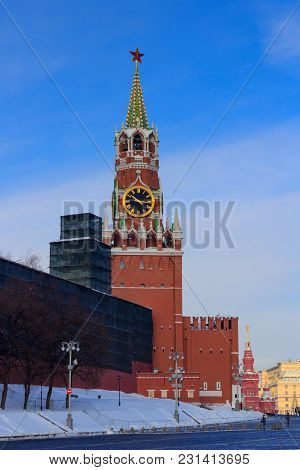 Spasskaya Tower On The Red Square In Moscow. Moscow Kremlin In Winter