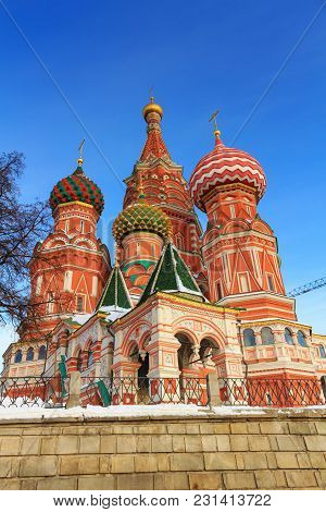 St. Basil's Cathedral On The Red Square In Moscow On A Sunny Winter Morning