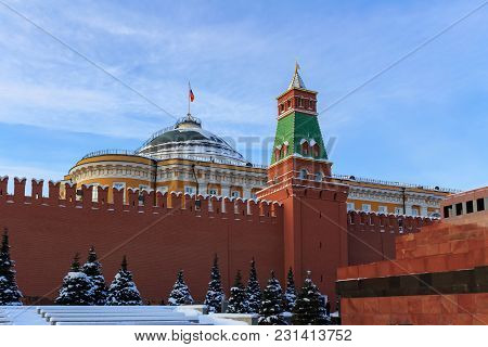 Building Of Moscow Kremlin On A Blue Sky Background. Winter In Moscow