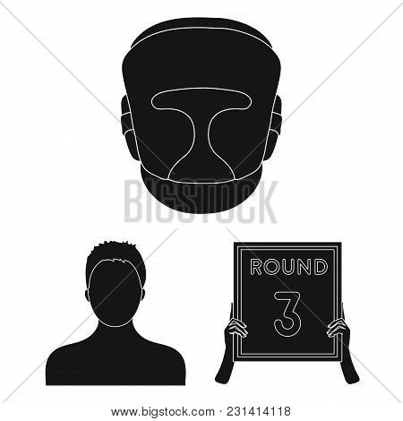 Boxing Extreme Sports Black Icons In Set Collection For Design. Boxer And Attributes Vector Symbol S