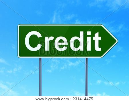 Banking Concept: Credit On Green Road Highway Sign, Clear Blue Sky Background, 3d Rendering