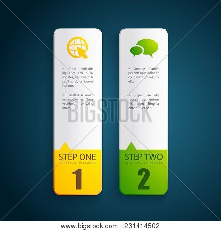 Two Bright Vertical Business Design Concept Banners With Step Description Flat Isolated Vector Illus