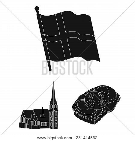 Traveling In Denmark Black Icons In Set Collection For Design. Denmark And Attractions Vector Symbol