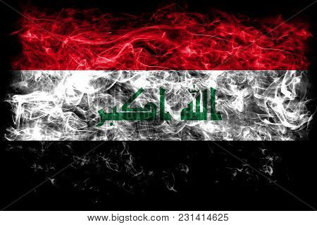 Iraq Smoke Flag On A Black Background