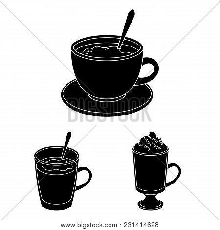 Different Kinds Of Coffee Black Icons In Set Collection For Design. Coffee Drink Vector Symbol Stock