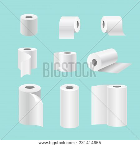 Vector Illustration Set Of Realistic Paper Rolls Isolated On Blue Background. Blank White 3d Kitchen
