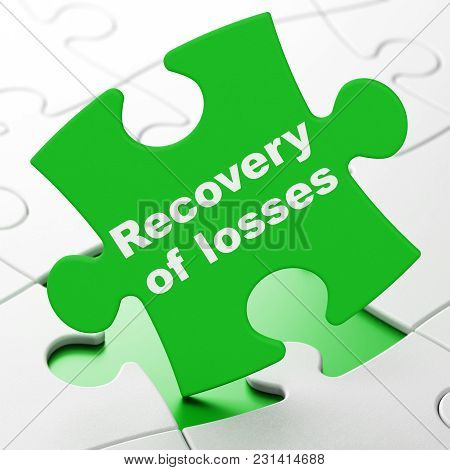 Currency Concept: Recovery Of Losses On Green Puzzle Pieces Background, 3d Rendering