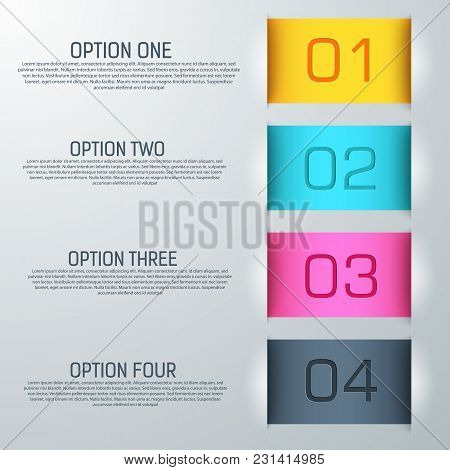 Abstract Colorful Background With Numbered Options Description Of Business Mechanism Flat Vector Ill