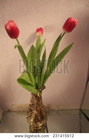Beautiful Bouquet Of Pink Soft Tulips Flowers In Golden Vase For Decoration And Gift