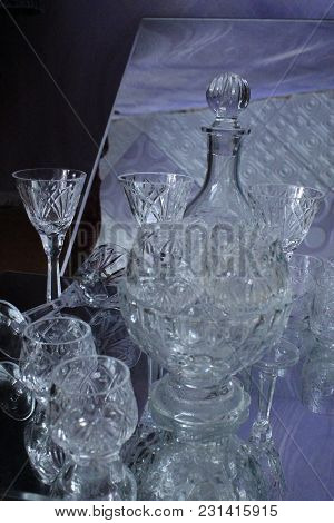 Crystal Shine Clean Wineglasses Prepare For Service Table For Holiday