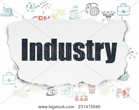 Finance Concept: Painted Black Text Industry On Torn Paper Background With Scheme Of Hand Drawn Busi