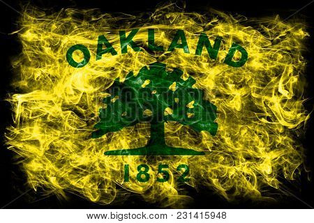 Oakland City Smoke Flag, California State, United States Of America