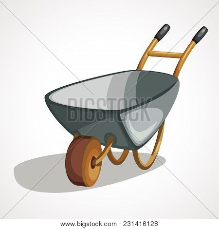 Wheelbarrow Icon In Cartoon Style Isolated On White Background. Build And Repair Symbol Stock Vector