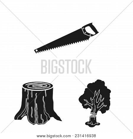 Sawmill And Timber Black Icons In Set Collection For Design. Hardware And Tools Vector Symbol Stock
