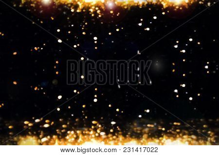 Flare Background. Golden Light. Christmas Bokeh. Ornament For Cover, Congratulation, Leaflets, Invit