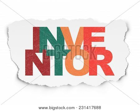 Science Concept: Painted Multicolor Text Inventor On Torn Paper Background