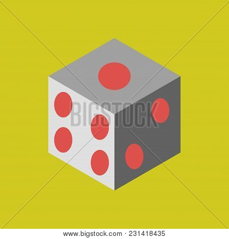 Dice Flat Design Isolated. Dice Casino Gambling Template Concept. Casino Background.