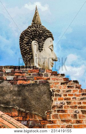 Buddha Statue In Wat Umong Chiang Mai Thailand. Old Ruined Buddha Statue In The Ancient Buddha Templ