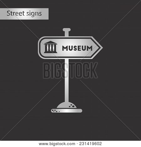 Black And White Style Icon Of Museum Sign