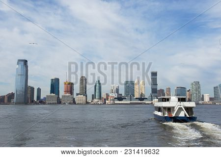 A Ferry Across The Hudson River To Jersey City, New York