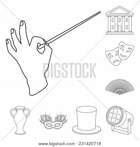 Theatrical Art Outline Icons In Set Collection For Design.theater Equipment And Accessories Vector S