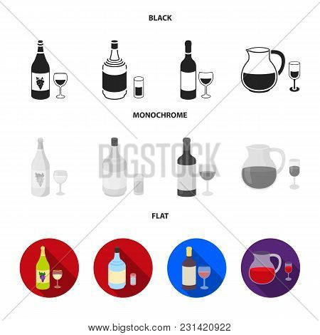 White Wine, Red Wine, Gin, Sangria.alcohol Set Collection Icons In Black, Flat, Monochrome Style Vec
