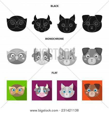Owl, Cow, Wolf, Dog. Animal's Muzzle Set Collection Icons In Black, Flat, Monochrome Style Vector Sy