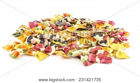 Farfalle Pasta With Vegetables Heap Isolated On White Background Raw Classic Traditional Italian