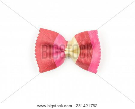 Farfalle Pasta With Red Beet And Paprika Isolated On White Background Top View One Raw Classic Tradi