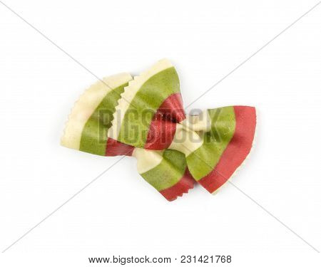 Farfalle Pasta With Green Spinach And Red Beet Isolated On White Background Top View Two Raw Classic
