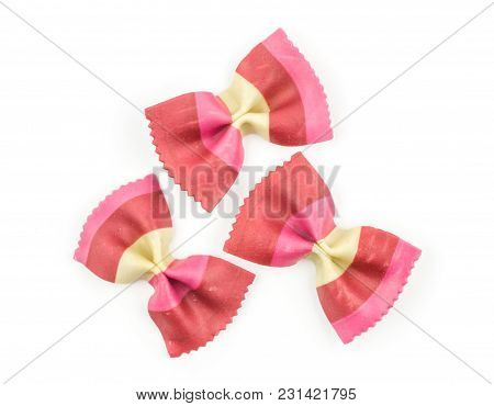 Farfalle Pasta With Red Beet And Paprika Isolated On White Background Top View Three Raw Classic Tra