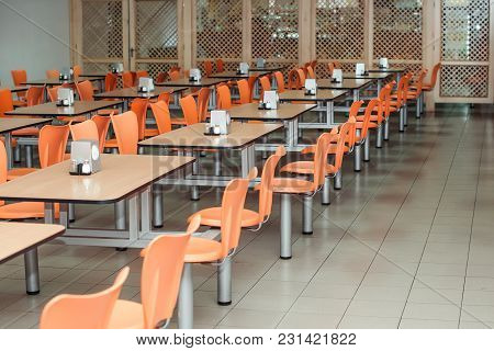 The Interior Of Cafeteria Or Canteen, Nobody