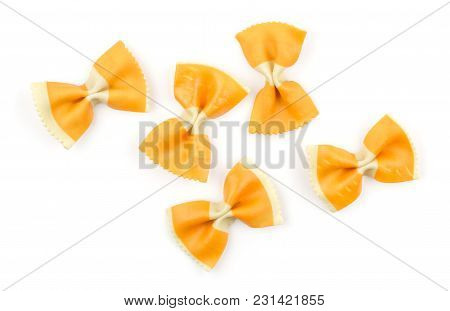 Farfalle Pasta With Orange Carrot Isolated On White Background Top View Set Raw Classic Traditional