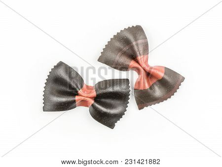 Farfalle Pasta With Black Cuttlefish Ink Isolated On White Background Top View Two Raw Classic Tradi