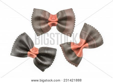 Farfalle Pasta With Black Cuttlefish Ink Isolated On White Background Top View Three Raw Classic Tra