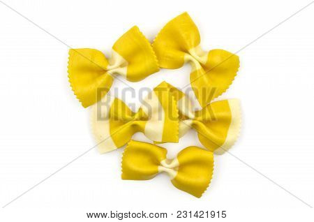 Farfalle Pasta With Curcuma Isolated On White Background Top View Raw Set Classic Traditional Italia