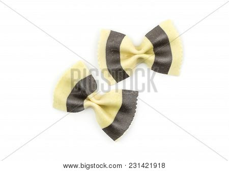 Farfalle Pasta With Black Cuttlefish Ink Isolated On White Background Top View Raw Classic Tradition