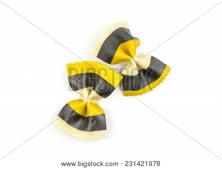 Farfalle Pasta With Curcuma And Cuttlefsh Ink Isolated On White Background Top View Two Raw Classic