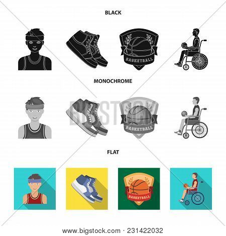 Basketball And Attributes Black, Flat, Monochrome Icons In Set Collection For Design.basketball Play