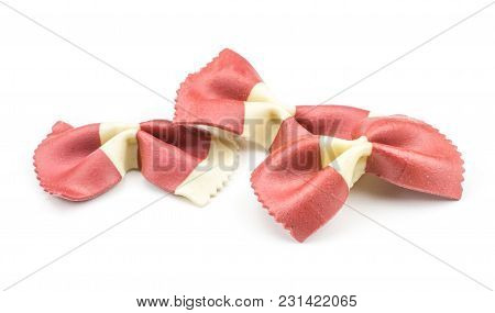 Farfalle Pasta With Red Beet And Paprika Isolated On White Background Three Raw Classic Traditional