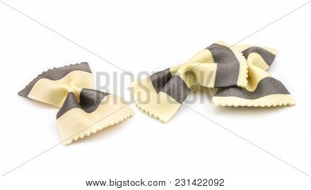 Farfalle Pasta With Black Cuttlefish Ink Isolated On White Background Raw Classic Traditional Italia