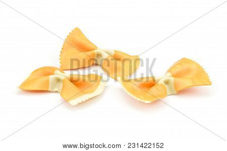 Farfalle Pasta With Orange Carrot Isolated On White Background Three Raw Classic Traditional Italian