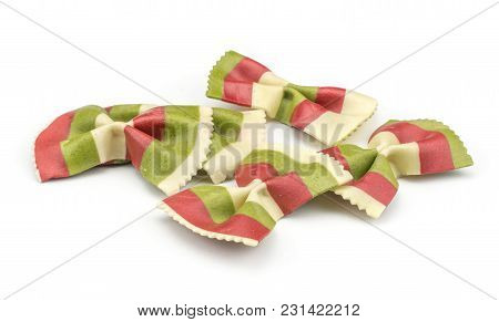 Farfalle Pasta With Green Spinach And Orange Carrot Isolated On White Background Stack Raw Classic T