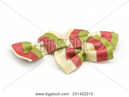 Farfalle Pasta With Green Spinach And Orange Carrot Isolated On White Background Raw Classic Traditi