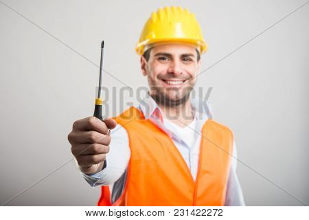 Selective Focus Of Handsome Architect Holding One Screwdriver