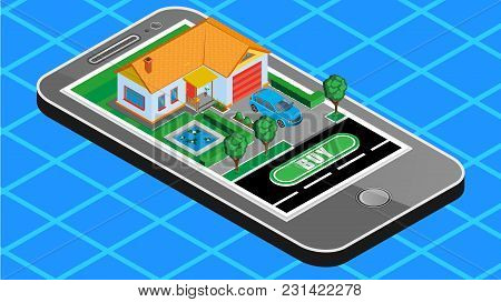 Vector Isometric Illustration Of A Mobile Phone On The Screen Of Which Is Your Dream House Which You