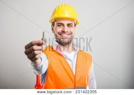 Portrait Of Handsome Architect Holding House Key