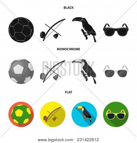 Brazil, Country, Ball, Football . Brazil Country Set Collection Icons In Black, Flat, Monochrome Sty