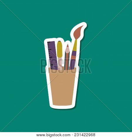 Paper Sticker On Stylish Background Of Pencil Ruler Brush Pen